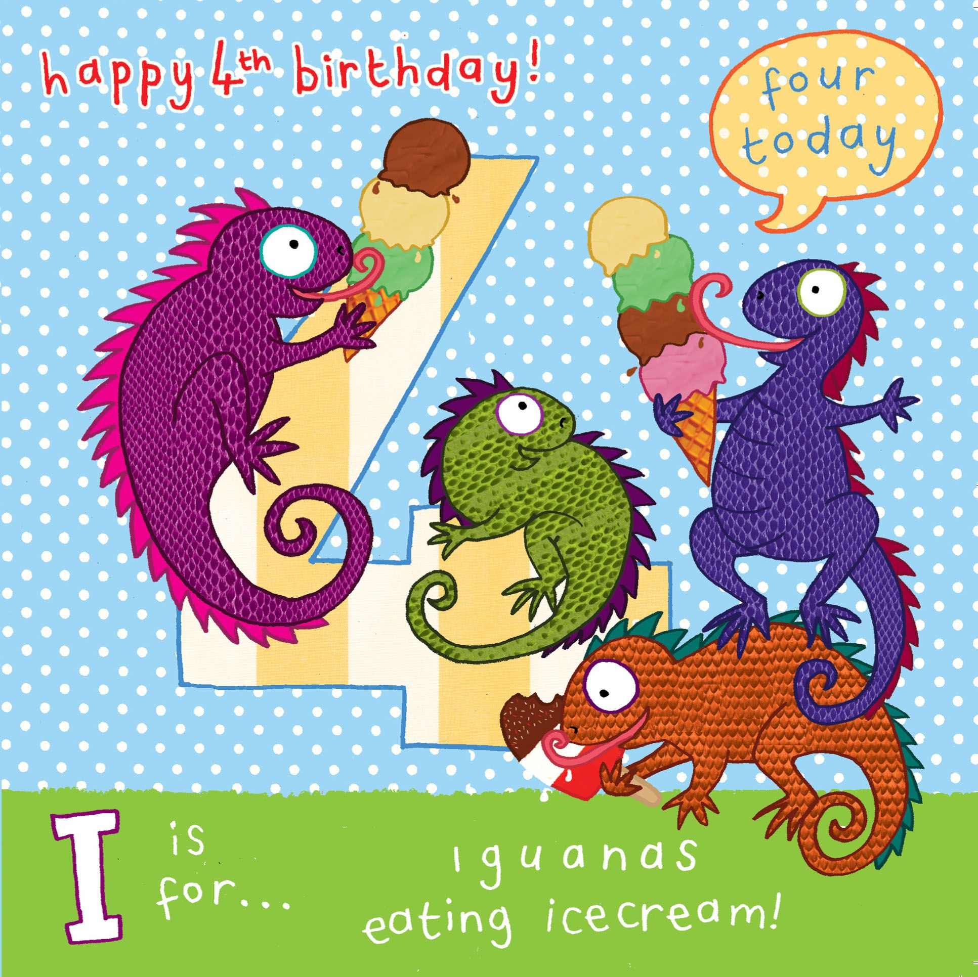 AGE 4 Boys Birthday Card Iguanas TW060