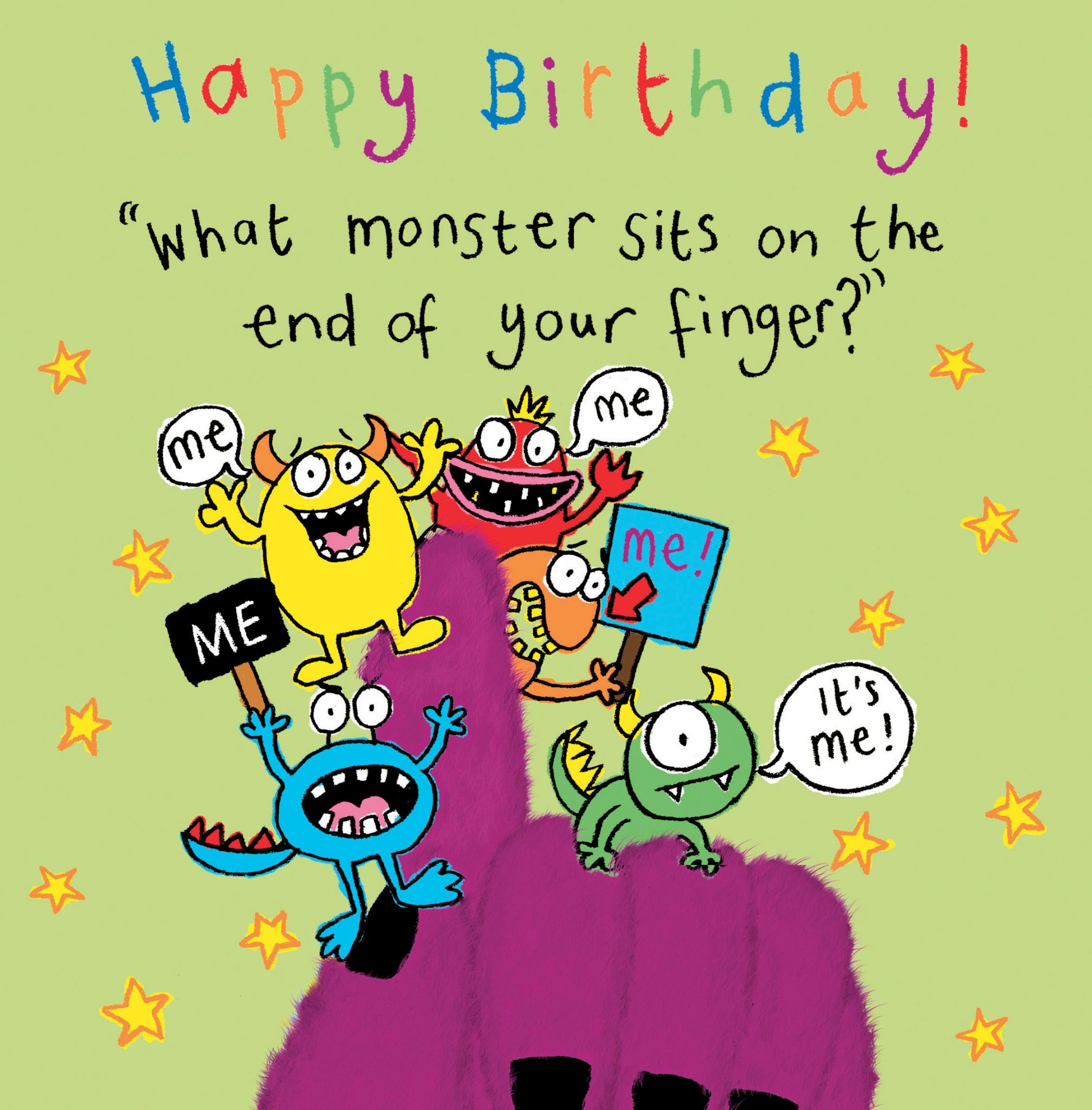 Monster Funny Joke Birthday Card For Kids TW433