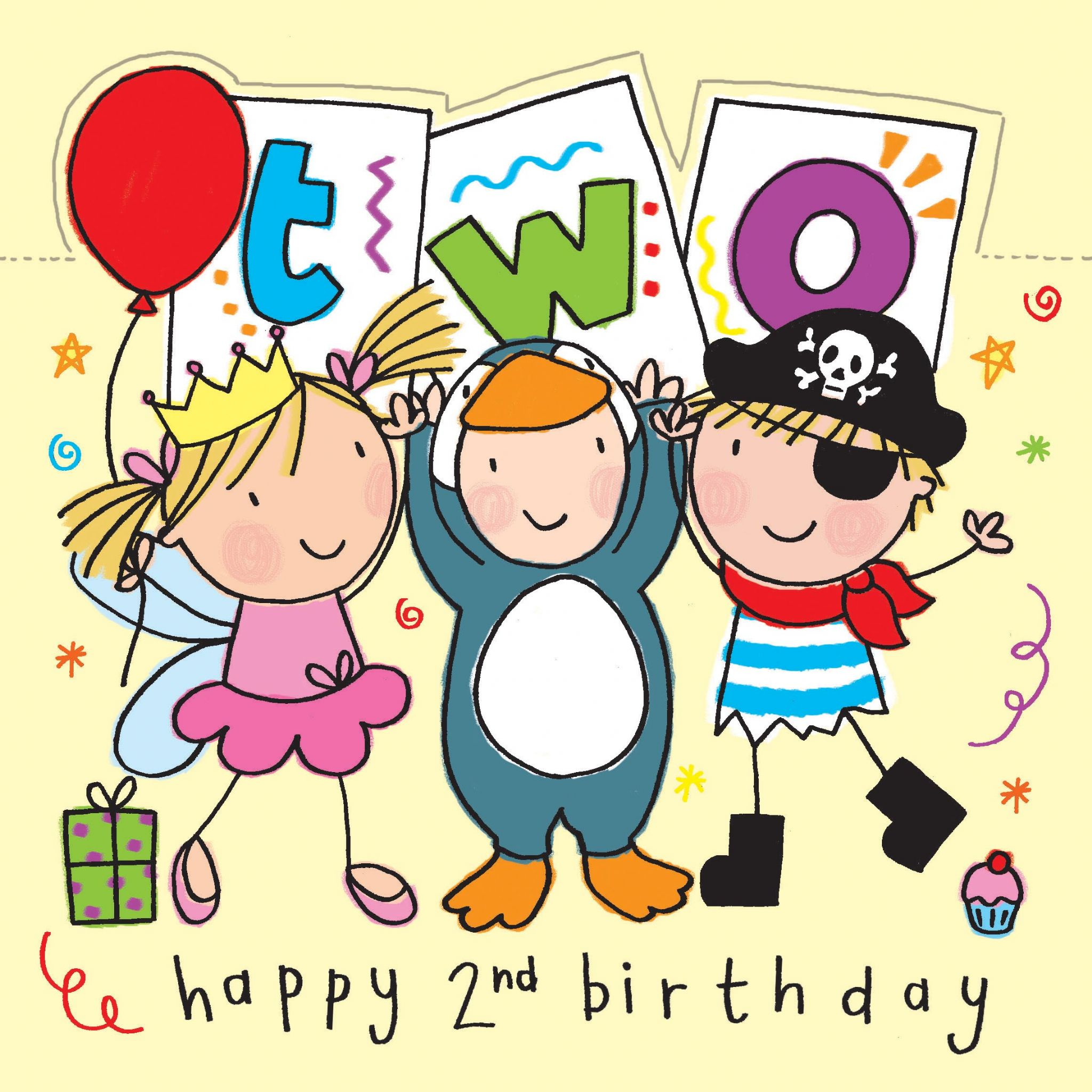 Age 2 Sparkly Birthday Card For Children With Pirate And Princess Tw426 4517 P