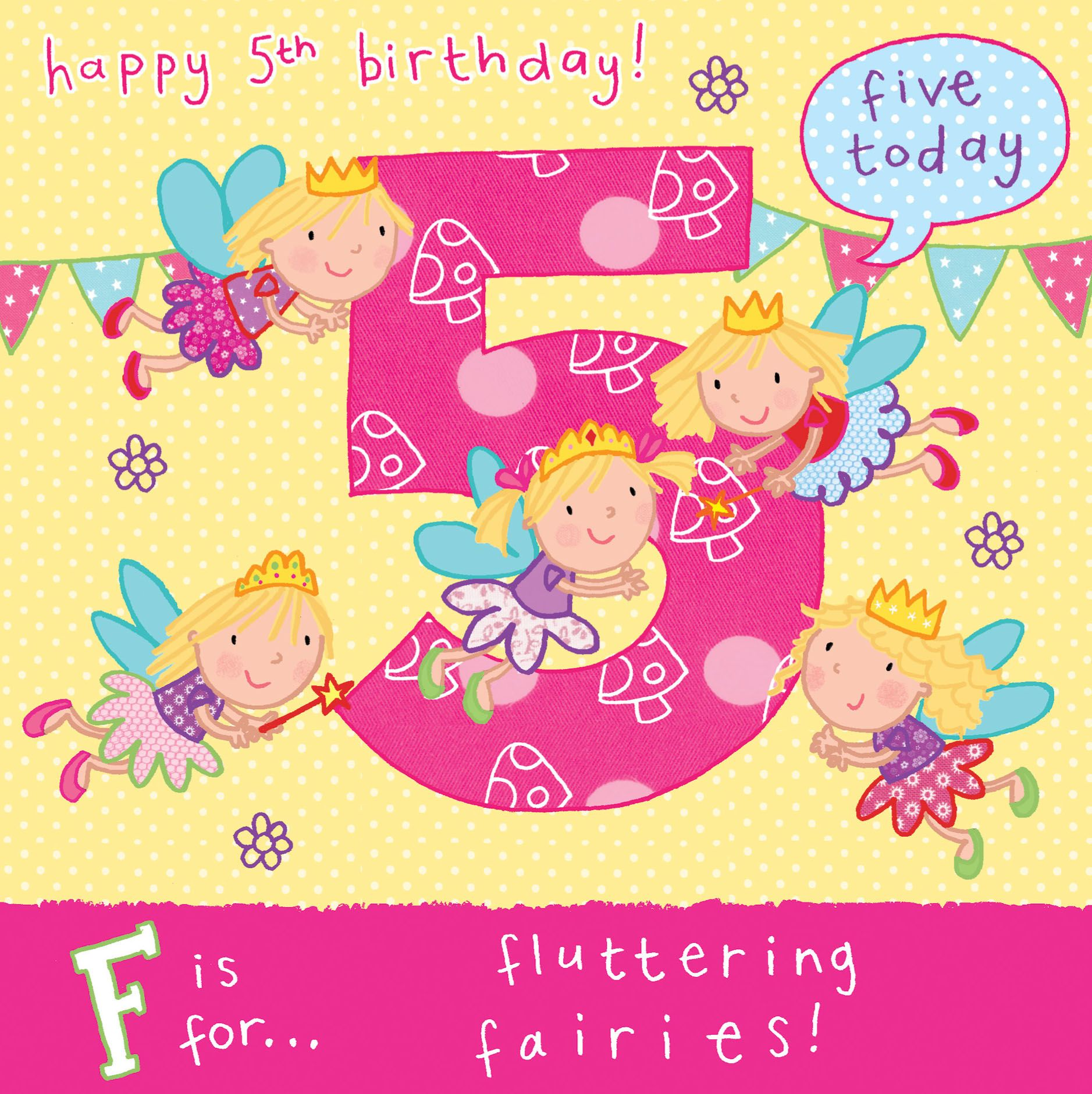 Age 5 Flying Fairies Birthday Card Tw055 4434 P