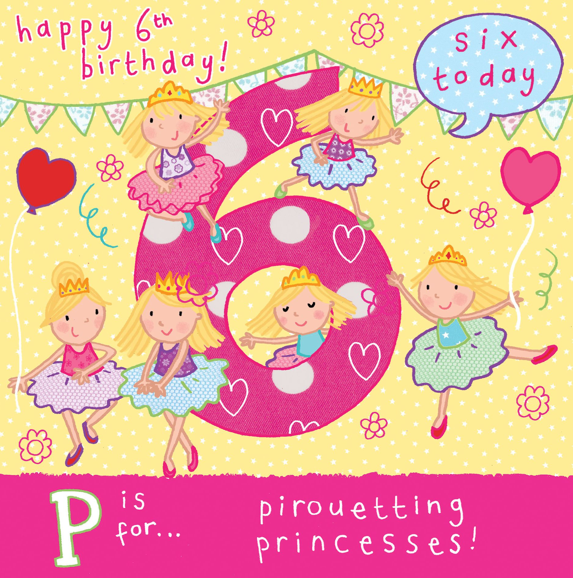Age 6 Princess Birthday Card Tw056 4436 P