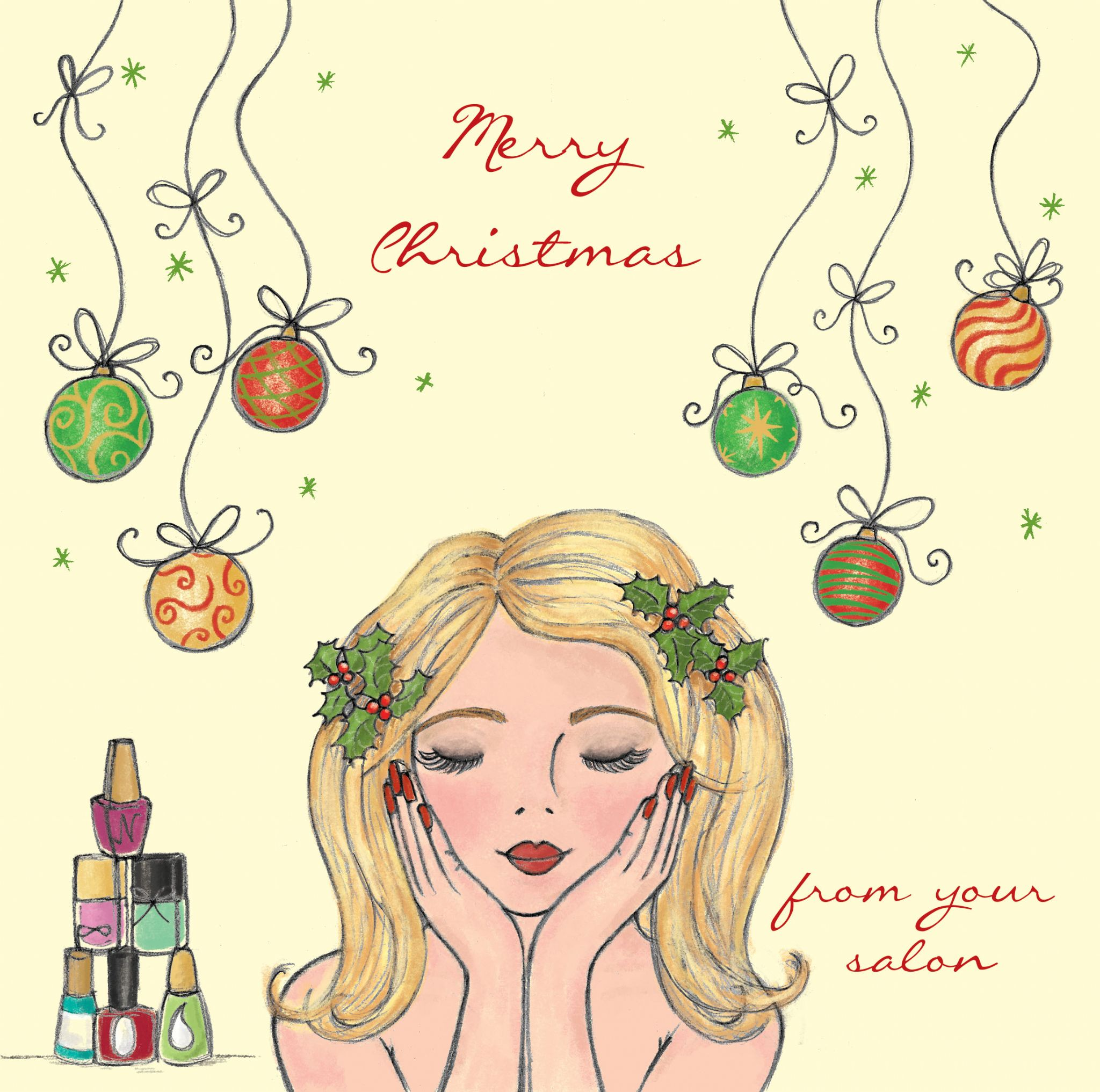 Christmas Beauty Salon.Beauty Salon Christmas Cards Pack Of 50