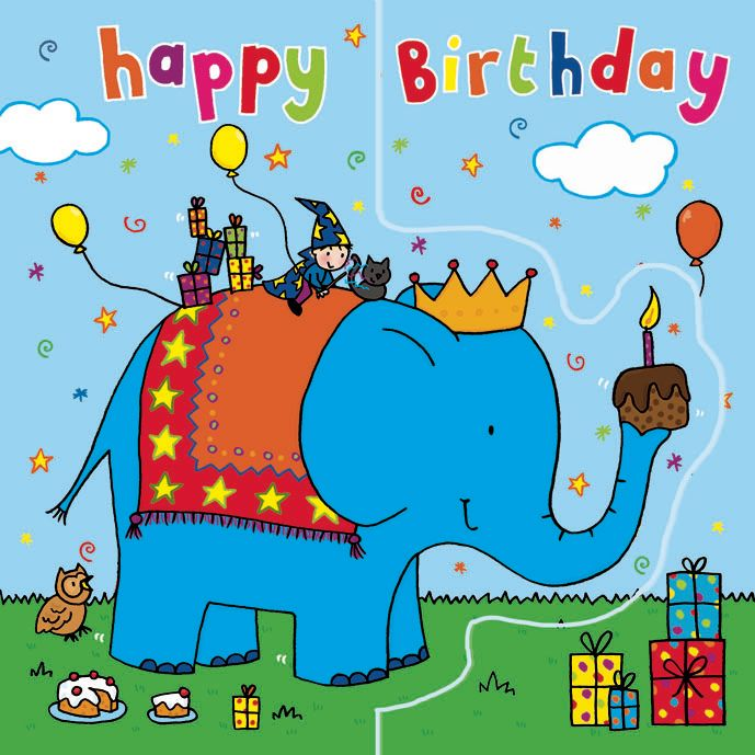 Blue Elephant Birthday Card Sparkly Pop Out TW199