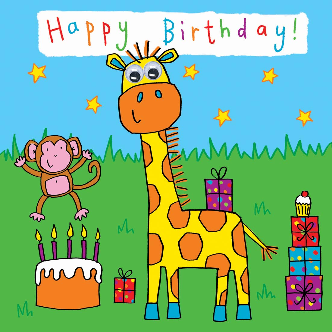 photograph about Printable Children's Birthday Cards identify Childrens Birthday Card - Giraffe