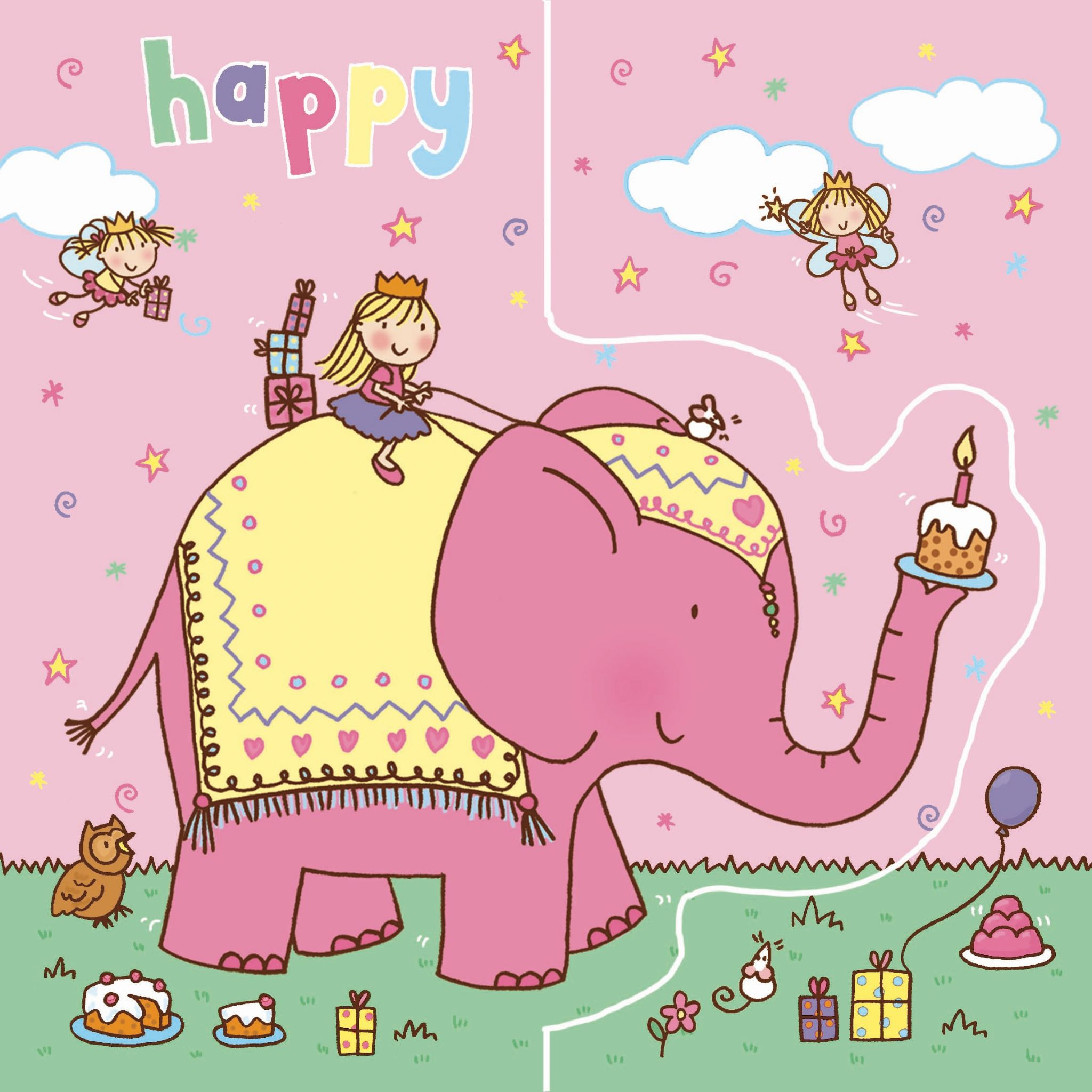Elephant Birthday Card Sparkly Pop Out TW190