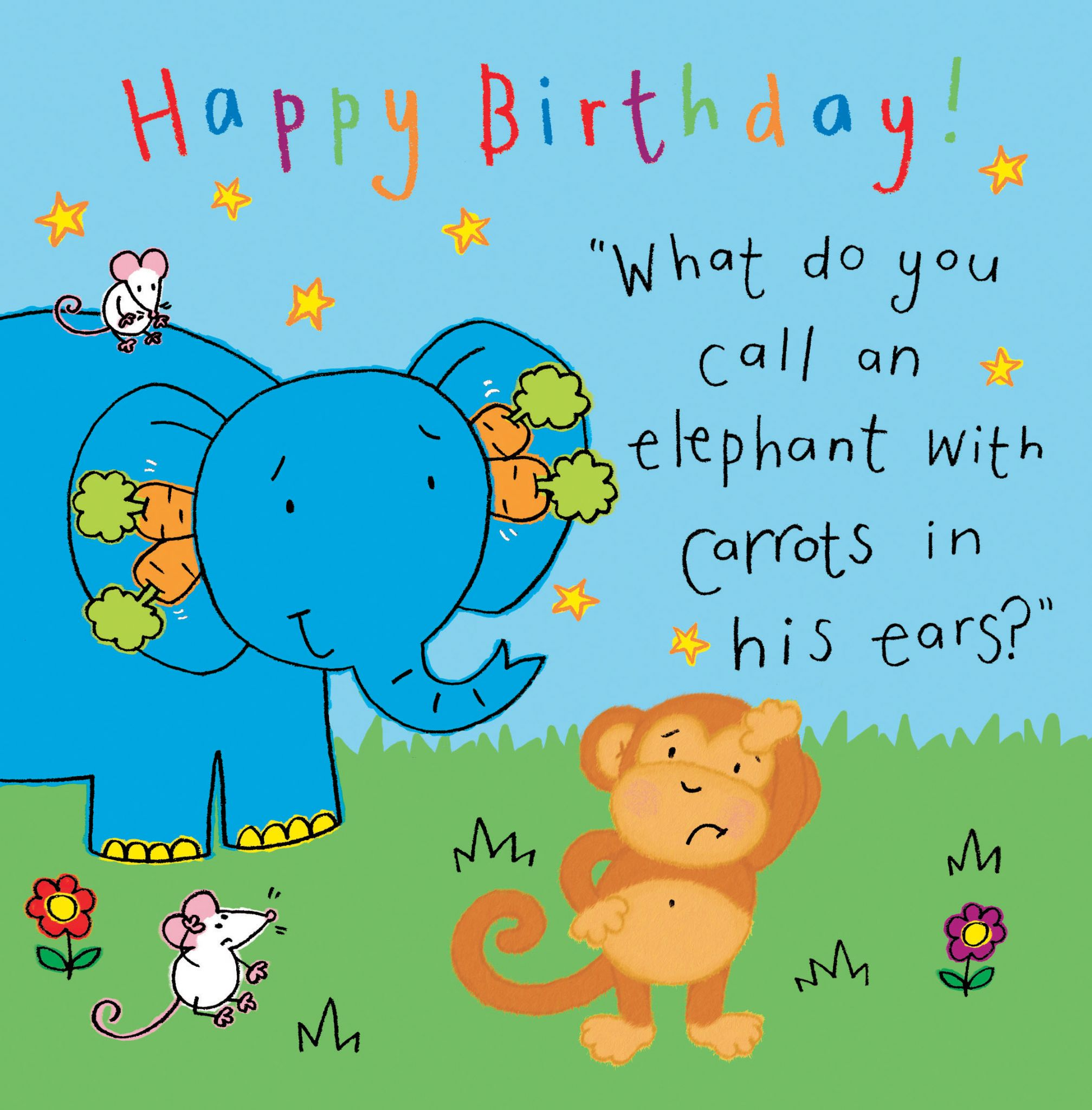 Elephant Funny Joke Birthday Card For Kids Tw431 4476 P