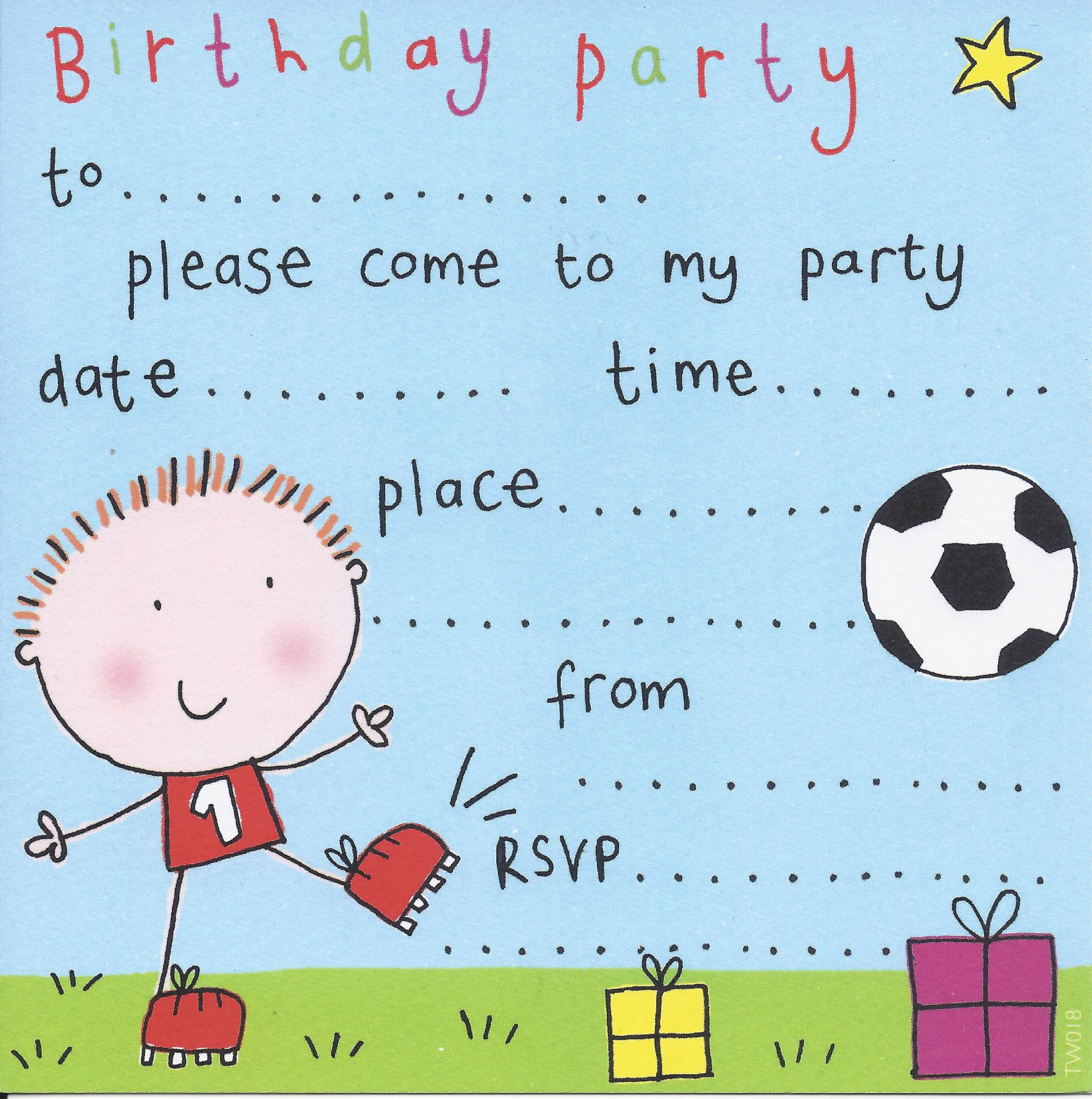 Party invitations birthday party invitations kids party football childrens party invitation stopboris Image collections