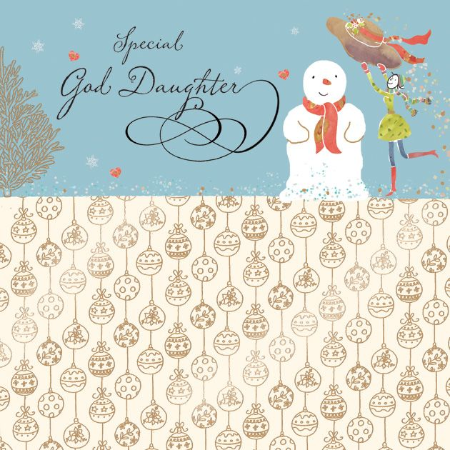 God Daughter Christmas Card With Gold Foiling Contemporary Design And Red Envelope KIS28