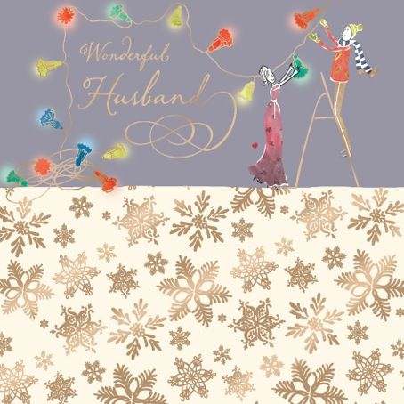 Husband Christmas Cards.Husband Christmas Card With Gold Foiling Contemporary Design And Red Envelope Kis13