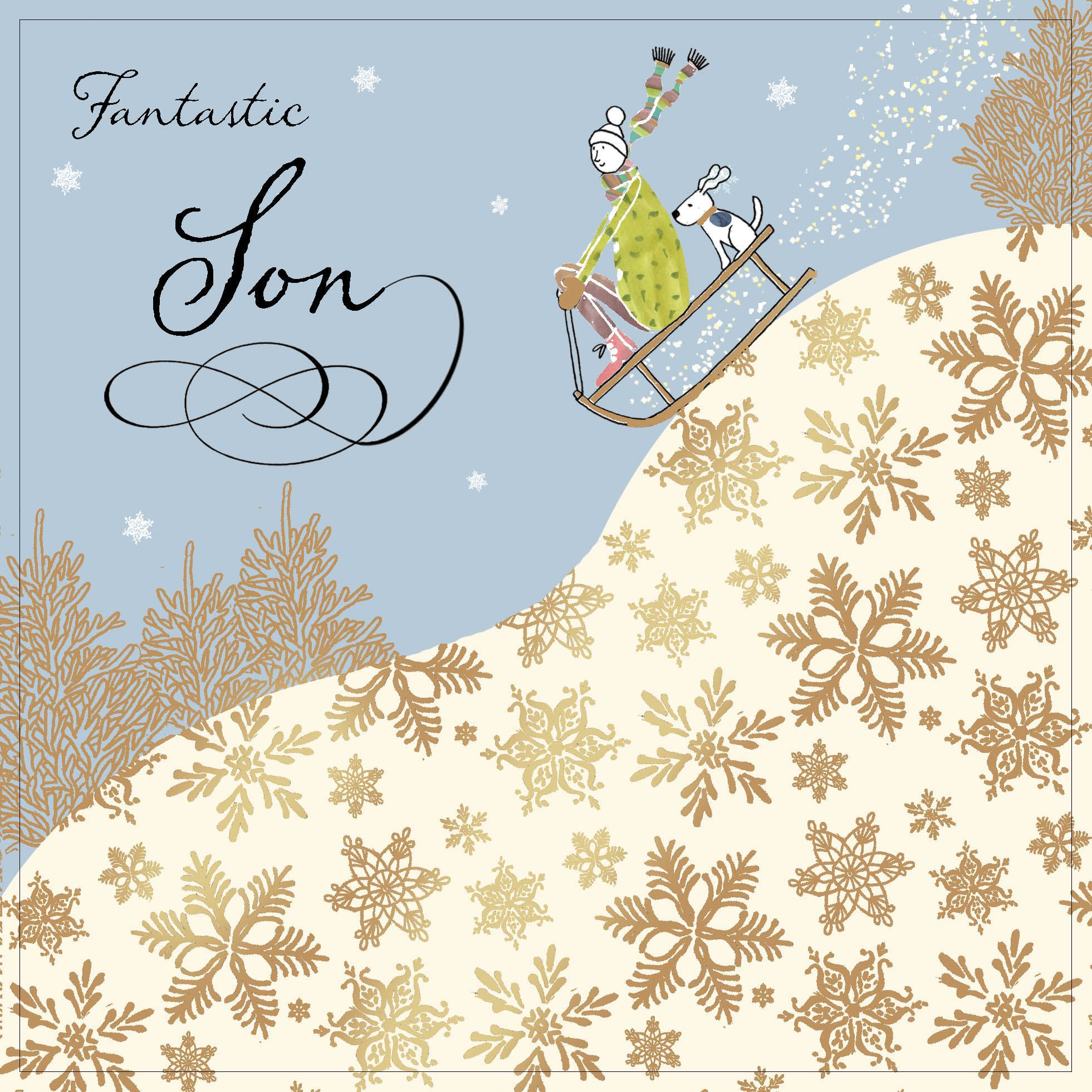 Son Christmas Card with Gold Foiling Contemporary Design and Red ...