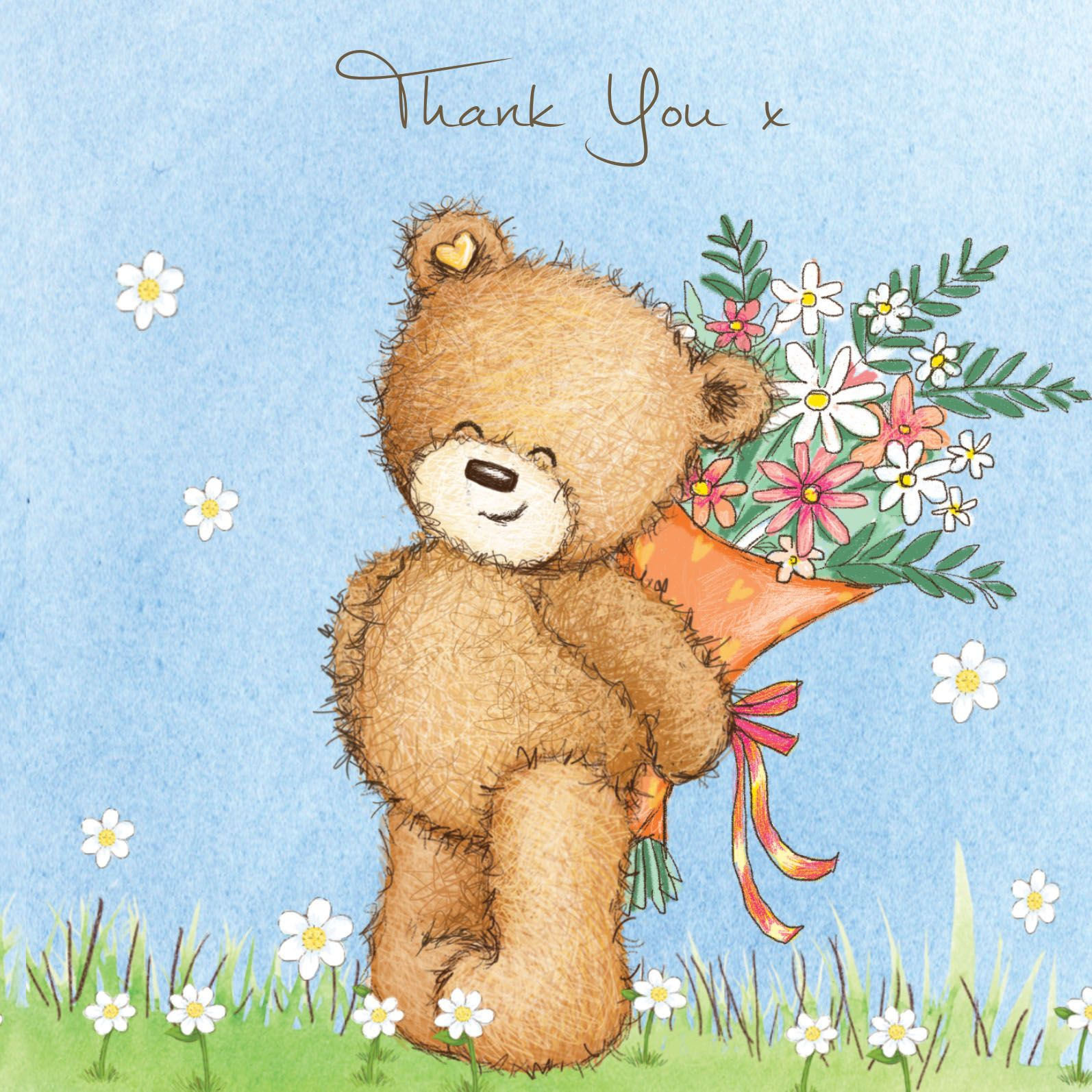 Birthday bear with pink balloon happy birthday card thank you bear with flowers izmirmasajfo
